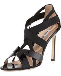 Manolo Blahnik Eletti Patent Crisscross Sandal - Lyst