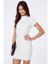 Missguided Trisha Textured High Neck Bodycon Dress Cream - Lyst