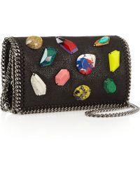 Stella McCartney The Falabella Embellished Faux Brushed-leather Shoulder Bag - Lyst