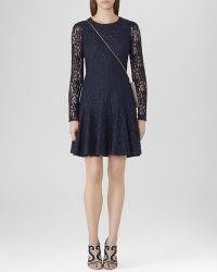 Reiss Dress - Rosalin Sheer Sleeve Lace - Lyst