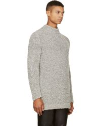Damir Doma Gray Wool Boucle Knit Sweater - Lyst