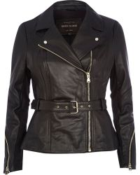 River Island Black Leather Peplum Jacket - Lyst