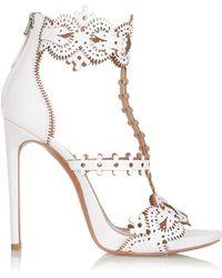 Alaïa Laser-Cut Leather Sandals - Lyst