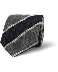 Drake's Striped Silk Mohair and Woolblend Tie - Lyst