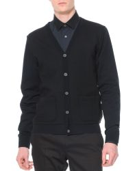 Lanvin Felted Wool Cardigan with Contrast Sleeves - Lyst