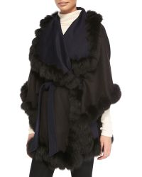 Sofia Cashmere Fox Fur-Trimmed Reversible Belted Cape - Lyst