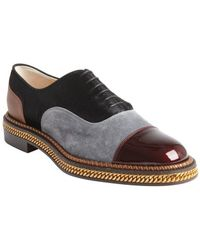 Christian Louboutin Black Grey and Rouge Fur Suede and Leather Oxfords - Lyst