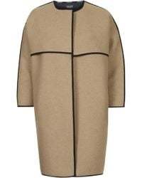 Topshop Collarless Blanket Coat - Camel - Lyst