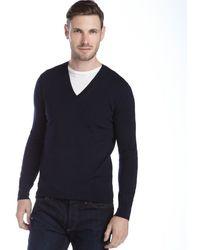 Burberry Brit Navy Merino Wool V-neck Sweater - Lyst