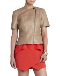 BCBGMAXAZRIA Dayne Bonded Faux-leather Cropped Jacket - Lyst