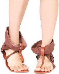 Akira Black Label - Ankle Wrap Camel Flat Thong Sandals - Lyst