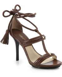 Michael Kors Valera Lace-Up Leather Sandals - Lyst