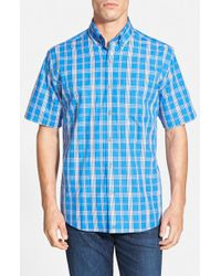 Cutter & Buck 'Rainier Plaid' Classic Fit Short Sleeve Sport Shirt - Lyst