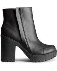 H&M Black Platform Boots - Lyst