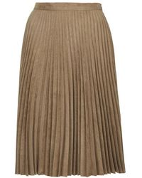 Topshop Suedette Pleated Midi Skirt - Lyst