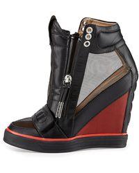 L.a.m.b. Stephanie Meshpanel Wedge Sneaker Blackred 6 12 - Lyst