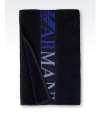 Emporio Armani Beach Towel blue - Lyst