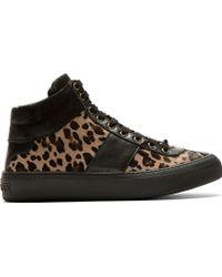 Jimmy Choo Brown Leopard Calf_hair Belgravi High_top Sneakers - Lyst