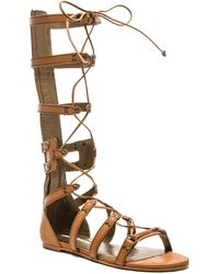 Twelfth Street Cynthia Vincent Franky Leather Sandals brown - Lyst