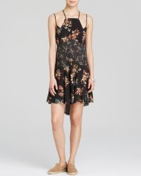 Free People Dress - Printed Cresent Slip Charcoal - Lyst