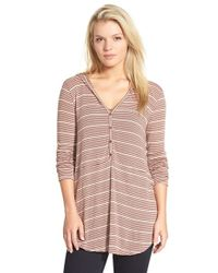 Lush - Stripe Hooded Henley Top - Lyst