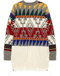 Sacai Intarsia Woolblend Sweater Dress - Lyst