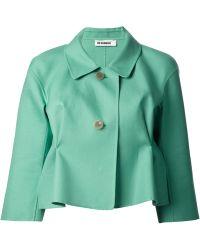 Jil Sander Green Cropped Jacket - Lyst