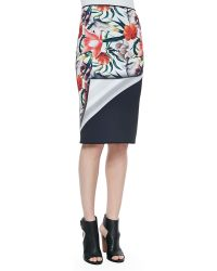 Clover Canyon Turning Flower Printed/Solid Reversible Pencil Skirt - Lyst
