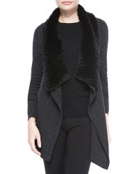 Theory Maritza Fur-collar Knit Cardigan  - Lyst