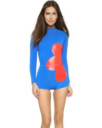 Cynthia Rowley | Large Placed Floral Print Wetsuit - Bright Blue | Lyst