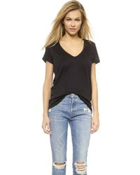 David Lerner Super Deep V Neck Tee - Poppy - Lyst