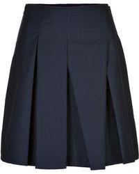 Jil Sander Navy Cotton Pleated Skirt - Lyst