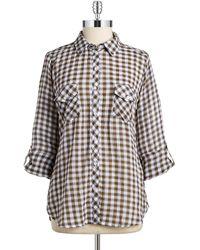 C&C California Checkered Button-Down Blouse - Lyst