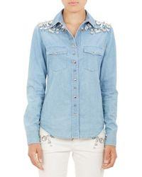 Emanuel Ungaro Embellished Chambray Shirt - Lyst