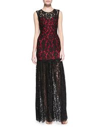 Milly Annika Sleeveless Lace Overlay Gown Blackred 4 - Lyst