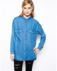 Pull&Bear Oversized Denim Shirt - Lyst
