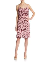 Nina Ricci Cherry-Print Ruched Silk Dress - Lyst