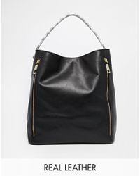 Asos Leather Shoulder Bag with Snake Strap - Lyst