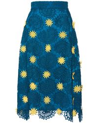 House of Holland Midi A- Line Skirt Blue - Lyst