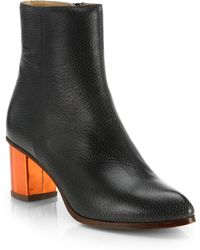 MM6 by Maison Martin Margiela Trunk Leather Ankle Boots - Lyst