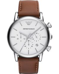 Emporio Armani Mens Chronograph Brown Leather Strap Watch 41mm - Lyst