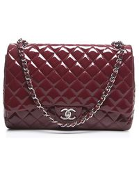 Chanel Pre-Owned Red Patent Maxi Double Flap Bag red - Lyst