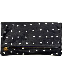 Clare Vivier Foldover Clutch In Navy Nubuck With Mini Pink Spots - Lyst