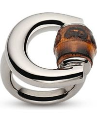 Gucci Horsebit Bamboo-detail Sterling Silver Ring - Lyst
