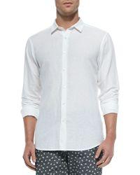 Theory Short-Sleeve Linen Shirt - Lyst