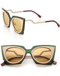 Fendi Zig-Zag 49Mm Cat'S-Eye Sunglasses khaki - Lyst
