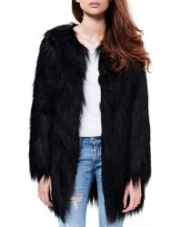 Unreal Fur Wanderlust Black Faux Fur Coat - Lyst