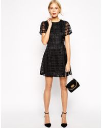 Oasis Textured Check Dress - Lyst