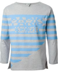 Kenzo Stripes And Logo Print T-Shirt - Lyst