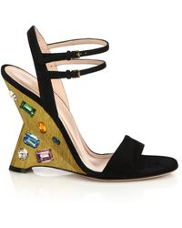 Gucci | Engel Jeweled Suede Evening Sandals | Lyst